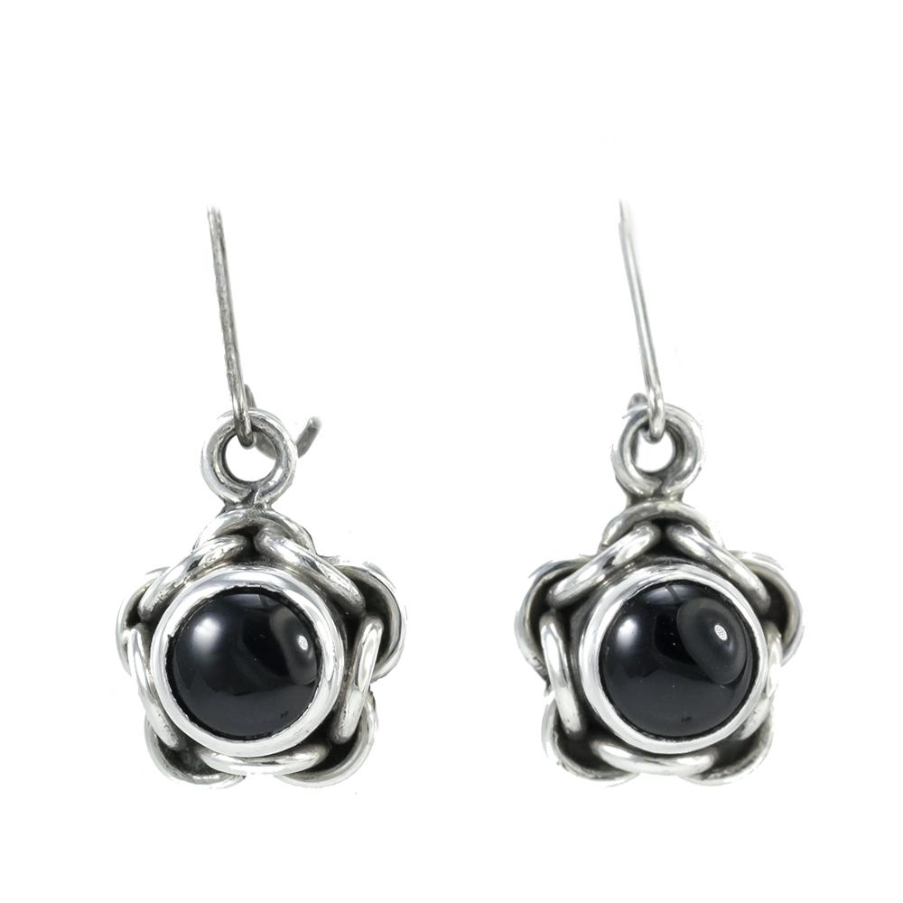 Sterling Silver Round Onyx Earrings