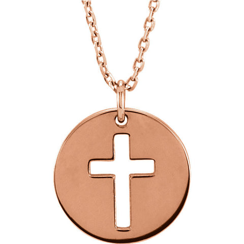 "14K Yellow Pierced Cross Disc 16-18"" Necklace"