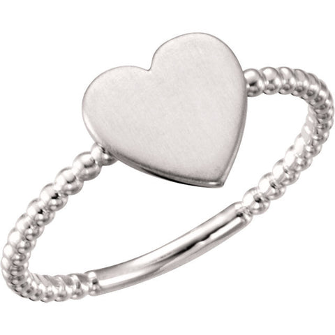 14K White Heart Engravable Ring