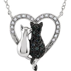 "Sterling Silver 1/5 CTW Black & White Diamond Cats Heart 18"" Necklace"