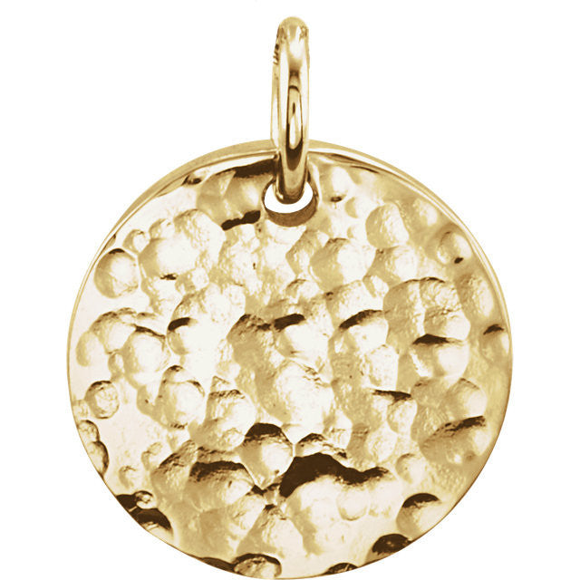 14K Gold 9.5mm Engravable Round Disc Pendant