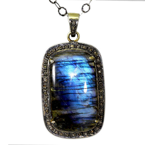 Blue Labradorite & Diamond Necklace