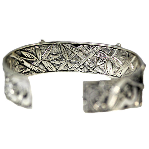 Fully Engraved Dragonfly and Forest Cuff Bracelet
