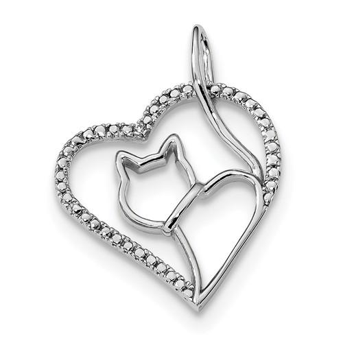 Sterling Silver Rhodium-Plated CZ Heart With Cat Silhouette Pendant