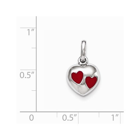 Sterling Silver Red Enameled Heart Pendant