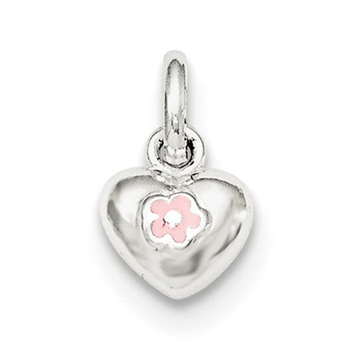 Sterling Silver Pink Heart Pendant