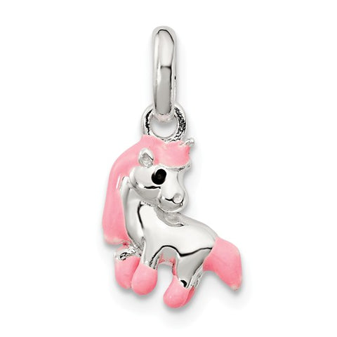 Sterling Silver Pink Horse Pendant