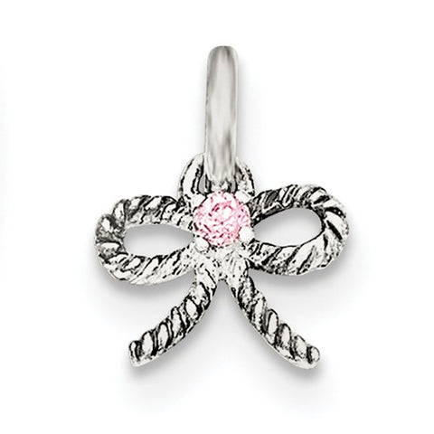 Sterling Silver Pink CZ Bow Pendant