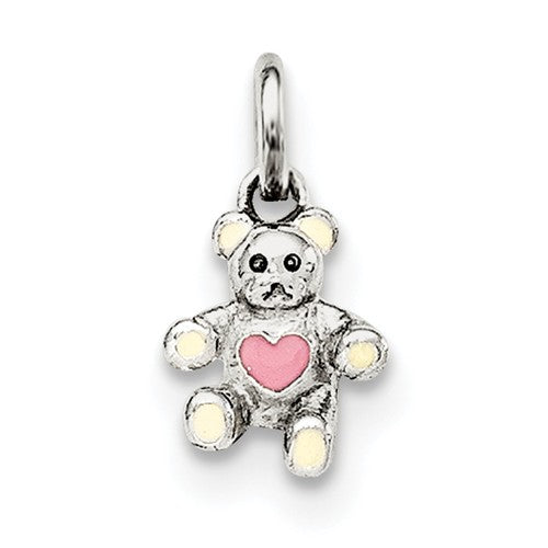 Sterling Silver Cream & Pink Bear Pendant