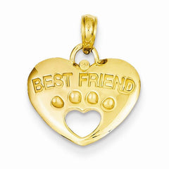 14K Best Friend On Heart With Paw Pendant