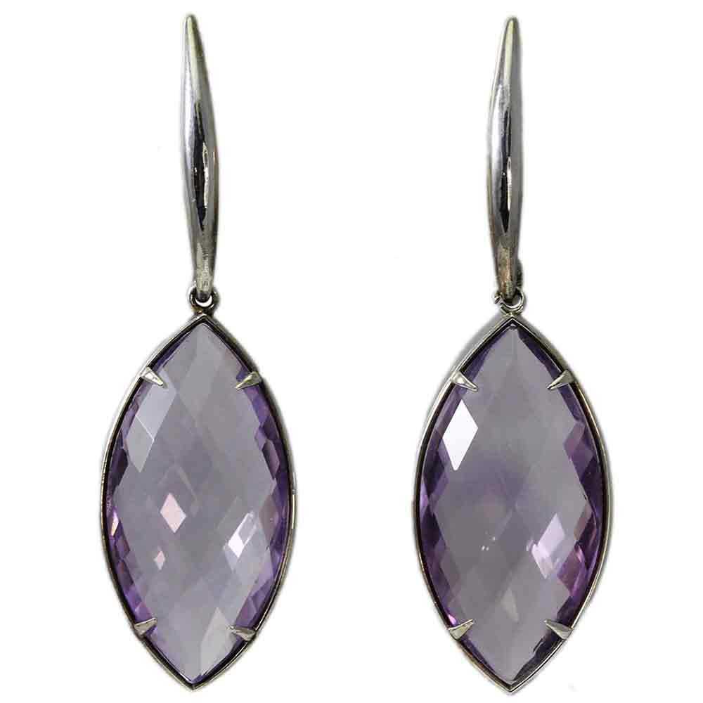 Checkerboard Amethyst Dangling Earrings