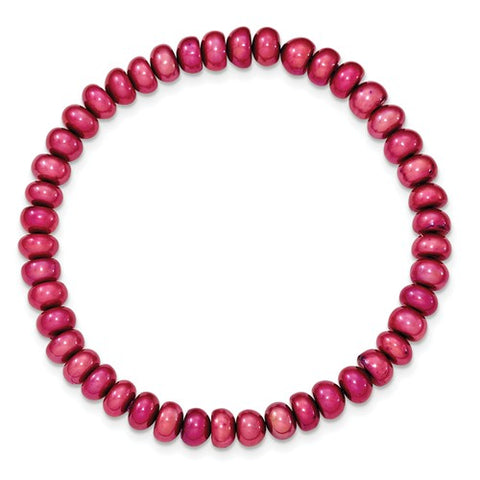 FW Cultured 6-8mm Dark Red Stretch Bracelet