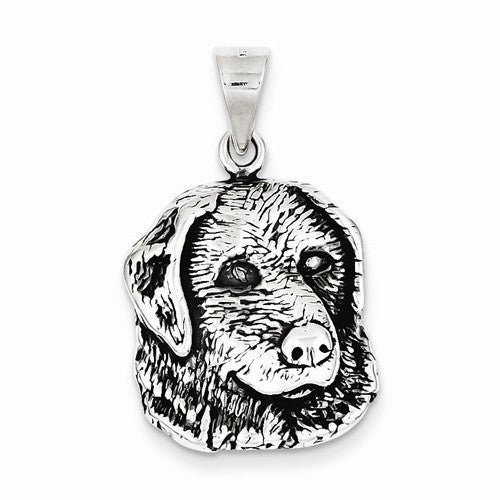 Antiqued Dog Face Charm