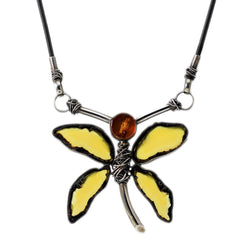 Amber Dragonfly Pendant Necklace