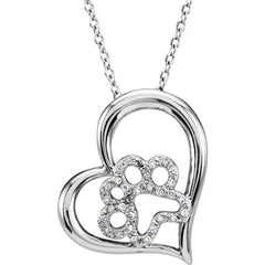 "Sterling Silver 1/6 CTW Diamond Heart Paw 18"" Necklace"