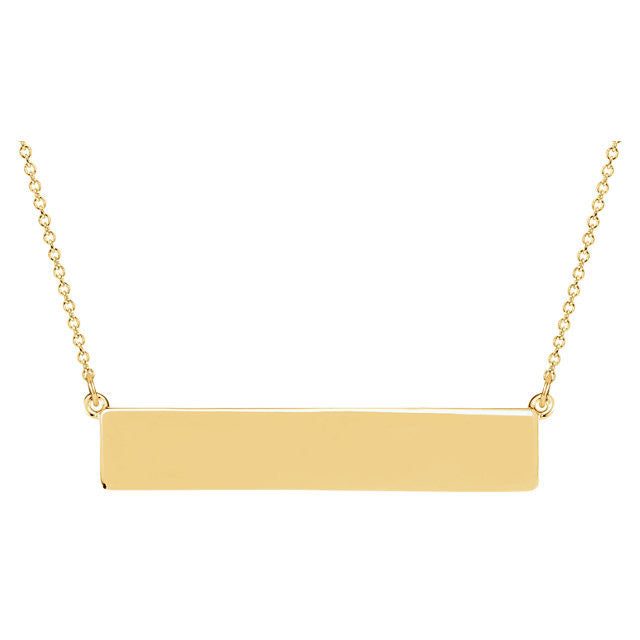 14K Gold Engravable Bar Necklace