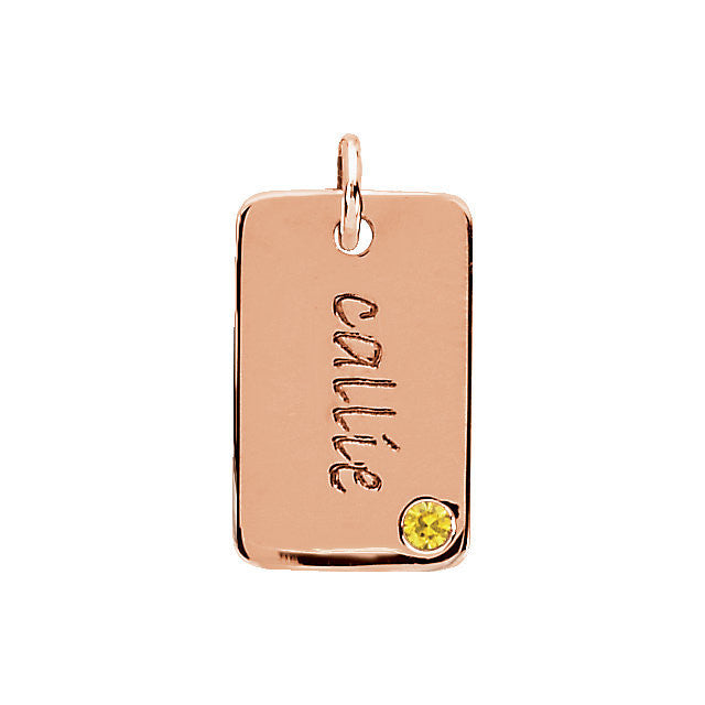 14K Gold 16x10mm Posh Mommy® Engravable Mini Dog Tag Pendant Mounting