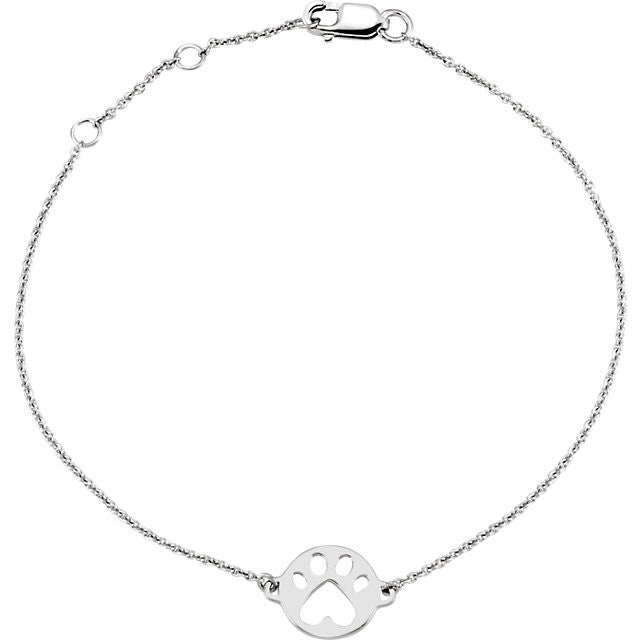 "Sterling Silver Paws for Cause 7"" Bracelet"