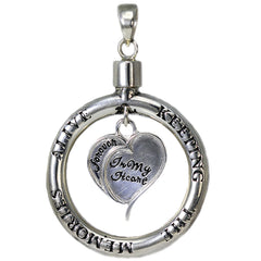 Keeping The Memories Alive Circle and Dangling Heart Pendant