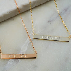 14K Rose Gold Engravable Bar Necklace