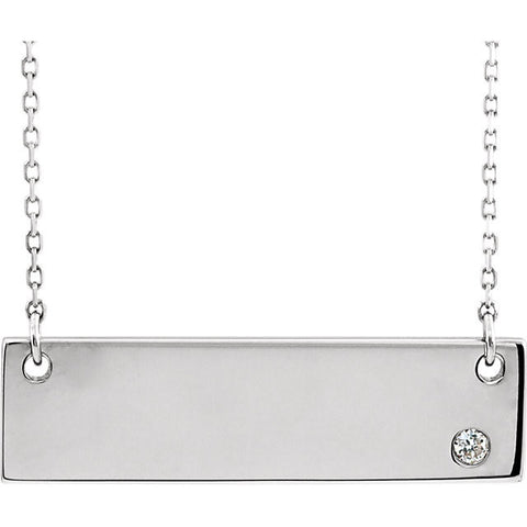 14K White Gold .025 CTW Bar