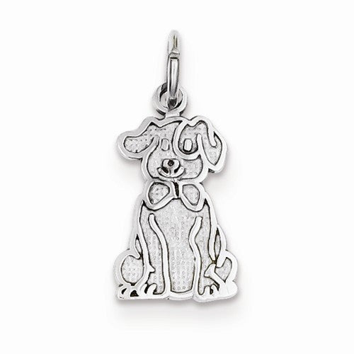 14k White Gold Puppy Charm / Pendant