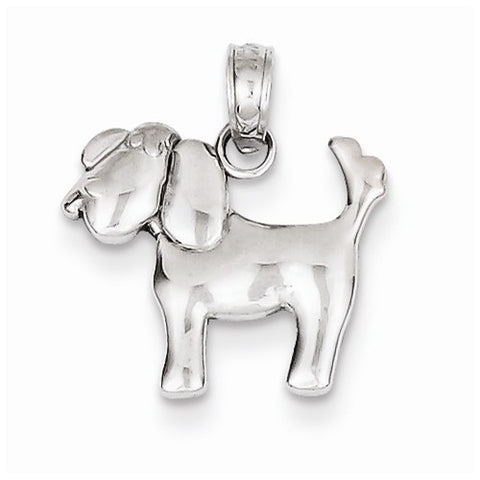 14k White Gold Satin & Diamond Cut Puppy Dog Charm / Pendant