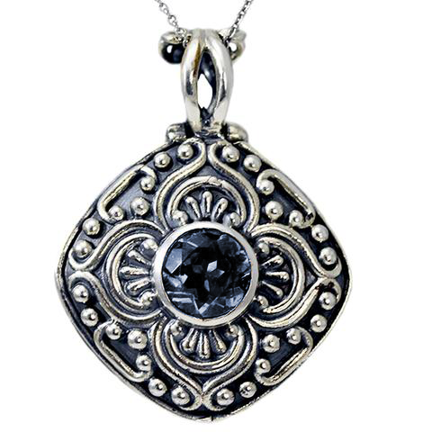 Antique Cremation Ash Holder Pendant W/Gemstone