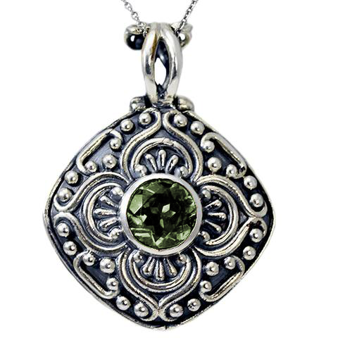 Sterling Silver Handmade Antique Cremation Ash Holder Pendant With Gemstone
