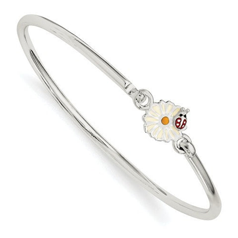 Sterling Silver Enamel Flower Kid's Bangle Bracelet
