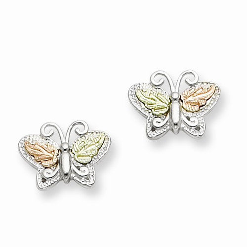 Sterling Silver & 12K Butterfly Post Earrings