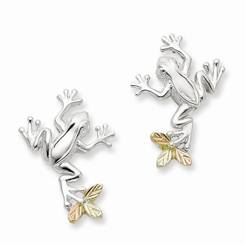 Sterling Silver & 12K Frog Post Earrings