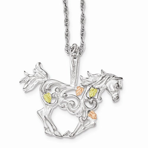 Sterling Silver & 12k Horse Necklace