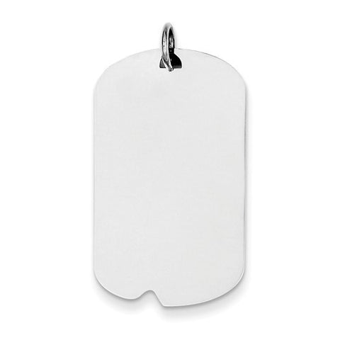 Sterling Silver Engravable Dog Tag Polished Front