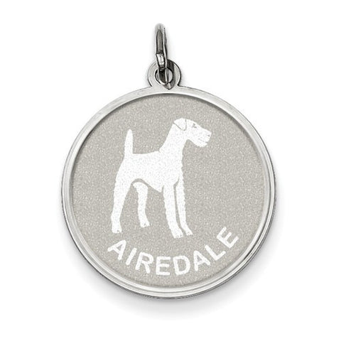 Sterling Silver Airedale Disc Charm