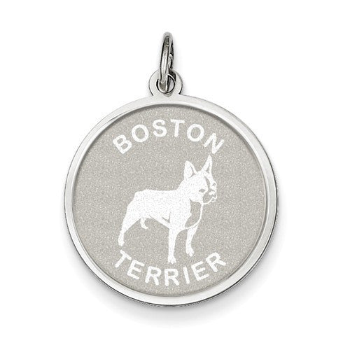Sterling Silver Boston Terrier Disc Charm