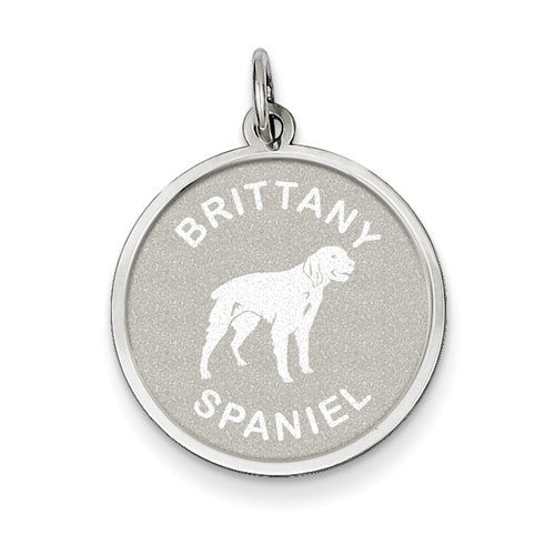 Sterling Silver Brittany Spaniel Disc Charm