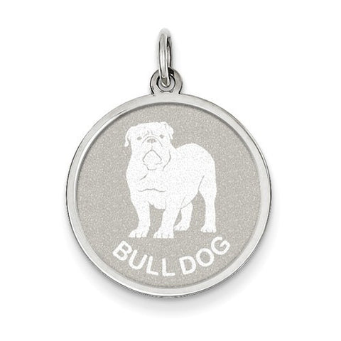 Sterling Silver Bull Dog Disc Charm