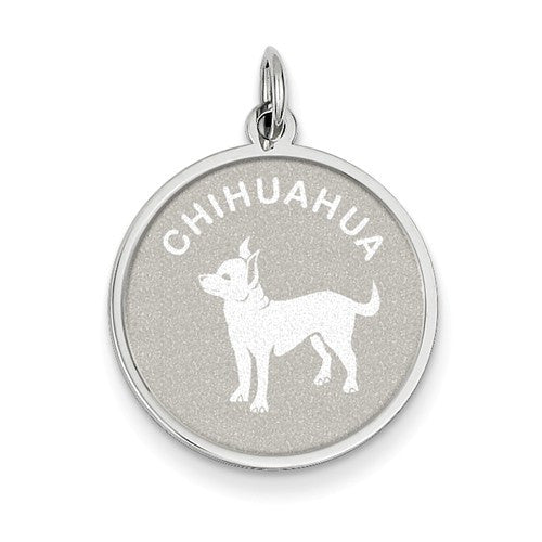 Sterling Silver Chihuahua Disc Charm