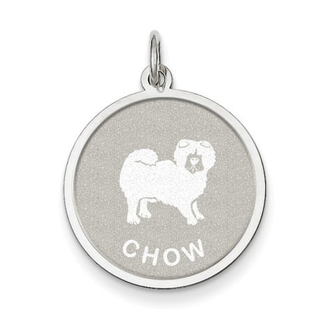 Sterling Silver Chow Disc Charm