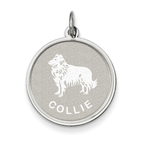 Sterling Silver Collie Disc Charm