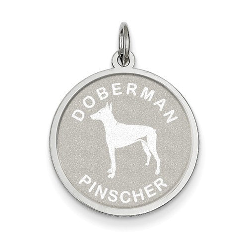 Sterling Silver Doberman Pinscher Disc Charm