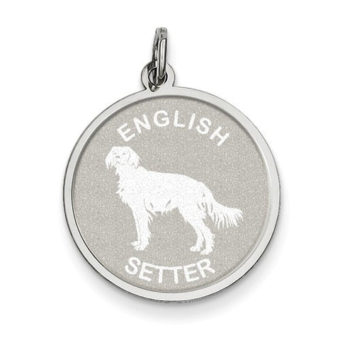 Sterling Silver English Setter Disc Charm