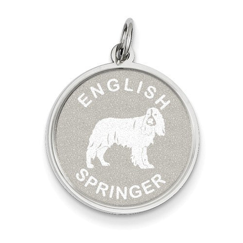 Sterling Silver English Springer Disc Charm