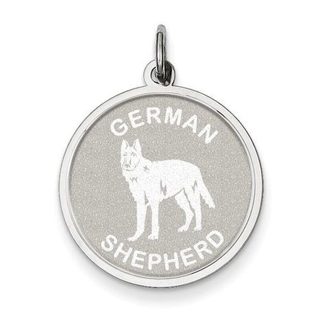 Sterling Silver German Shepherd Disc Charm