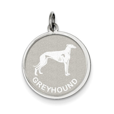 Sterling Silver Greyhound Disc Charm