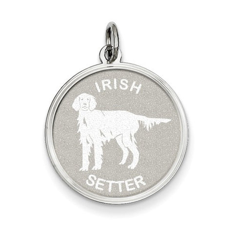 Sterling Silver Irish Setter Disc Charm