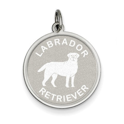 Sterling Silver Labrador Retrieve Disc Charm