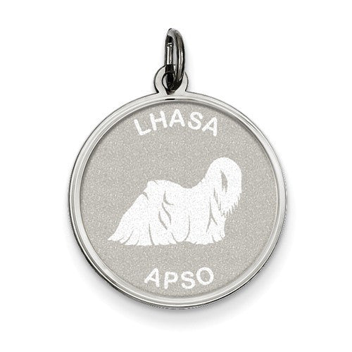 Sterling Silver Lhasa Apso Disc Charm