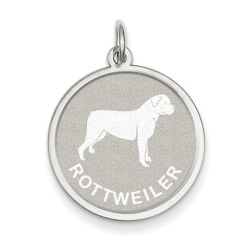 Sterling Silver Rottweiler Disc Charm